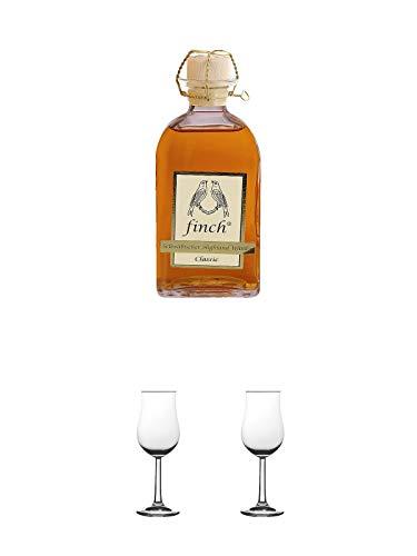 Finch Classic schwäbischer Whisky 0,5 Liter + Nosing Gläser Kelchglas Bugatti mit Eichstrich 2cl und 4cl 1 Stück + Nosing Gläser Kelchglas Bugatti mit Eichstrich 2cl und 4cl 1 Stück