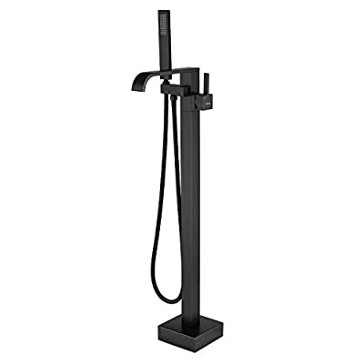 TapLong Freestanding Bathtub Faucet Tub Waterfall Filler Floor Mount Bathroom Faucets Brass Single Handle with Hand Shower High Flow Rate Max 6 GPM (Matte Black)