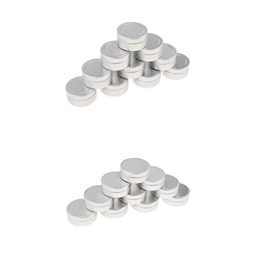 Fenteer 20pcs 10ml Pot Vide en Aluminium Récipient Cosmétique avec Couvercle pour Échantillon de Crèmes Stockage de Maquillage