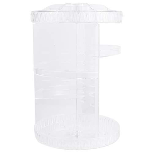DOITOOL Sminkorganisatör 360 roterande sminkorganisatör kosmetika förvaring vitrinskåp spinningbox hylla med rombmönster för bänkskiva badrum fåfänga