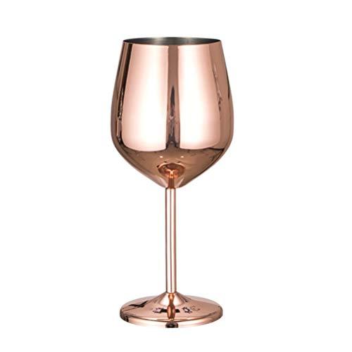 BESTONZON Copas de vino con tallos de acero inoxidable Copa de cóctel de copas de vino tostado a prueba de golpes Copa de vino rojo