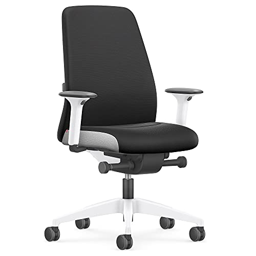 Interstuhl Every Interior Edition – Der Bürostuhl folgt der Bewegung des Körpers nach vorne und hinten – mit Verstellbarer Lordosenstütze (Schwarz | Weiß)