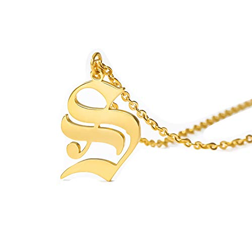 Old English Font Initial Necklace Monogram Novelty Personalized Alphabet Letter Pendant Necklace Birthday Gift(S)