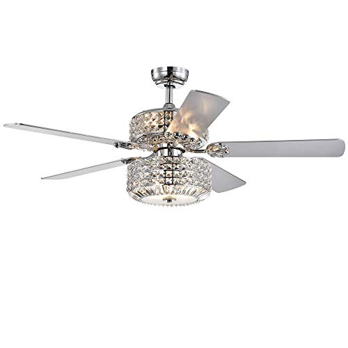 Warehouse of Tiffany CFL-8372REMO/CHD Walter Dual Lamp Chrome 52-inch w Crystal Shades (Includes Remote and Light Kit) Ceiling Fan, Silver