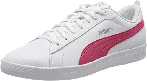 PUMA Smash Wns V2 L, Sneakers Donna, Bianco White/Bright Rose Silver, 38.5 EU