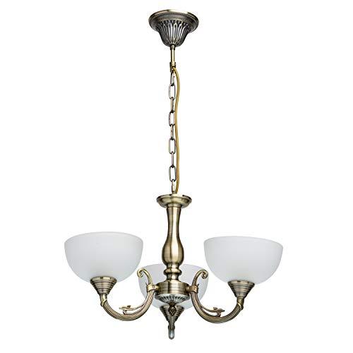 MW-Light 318011103 Lámpara de Araña Metal Color Bronce Antiguo Lámpara de Techo 3 x 60W E27
