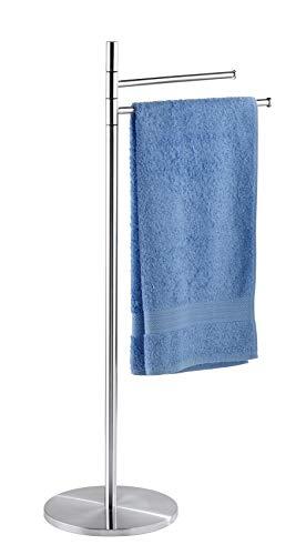 WENKO Handtuchständer Pieno mit 2 Armen Edelstahl - Kleiderständer, bewegliche Arme, rostfrei, Edelstahl rostfrei, 45 x 89 x 25 cm, Satiniert