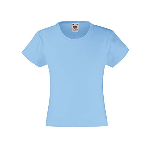 T-shirt Fruit of the Loom Valueweight Fille - Bleu - 104 cm