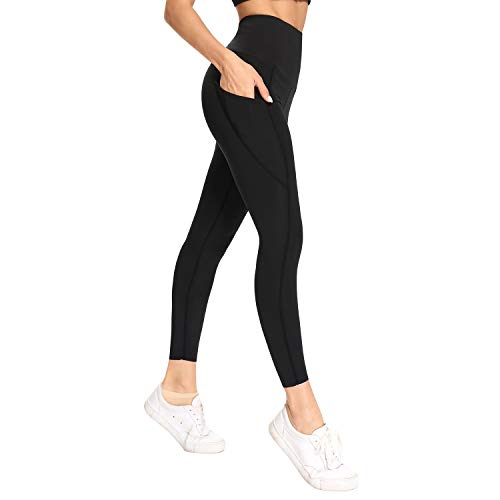 WOWENY Sport Leggings Damen mit Handytasche, Sportleggins Damen Lang High Waist, Ladies Fitness Yogahose Jogginghose, Laufhose Trainingshose Yogahose (M, A-Black)
