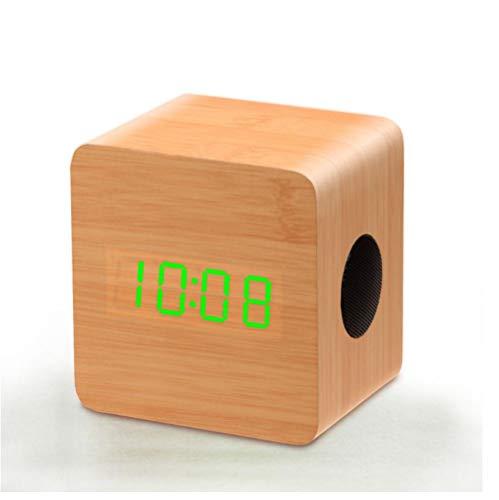 ZYZYY Houten intelligente Bluetooth LED digitale display thermometer wekker koolstofarm kleine luidspreker stereo subwoofer stereo wooncultuur slaapkamer kinderen