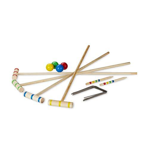 Relaxdays Krocket, 4 Spieler, Kinder & Erwachsene, Komplettset mit Tasche, Croquet Set Holz, Schläger 75 cm, Natur
