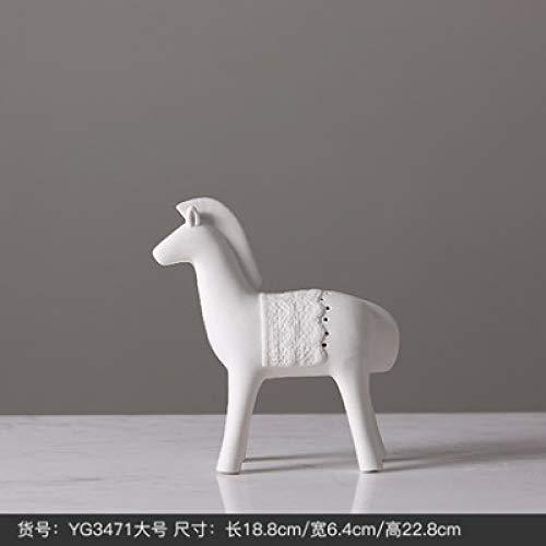 yueyue947 Einfache weiße Keramik Pferd Figuren Modell Tier handgefertigte Geschenke Kunsthandwerk/Ponys Home Dekoration-Figuren/L