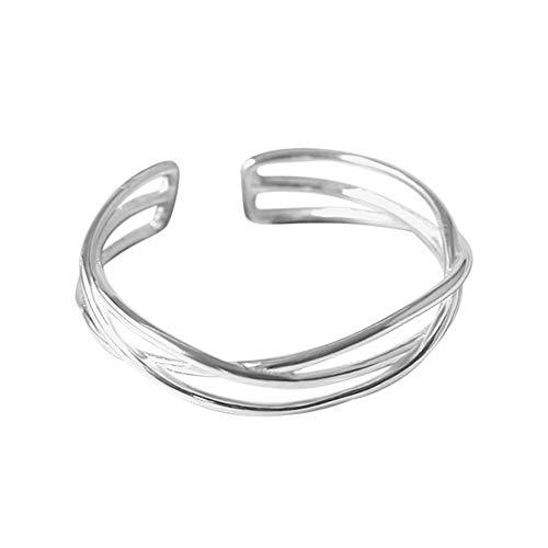 Damen Ringe, Verlobungsring Modeschmuck Silber Ring öffnen Diamant Openwork Ehering