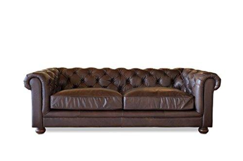 Donkere leren Chesterfield bank - Massief hout, Volnerf leder, Hoge mate zitcomfort, Dichte binnen voering, Eikenhout | Een comfortabele en chique driezitsbank - Chocoladebruin (L227 x H74 x P112 cm)