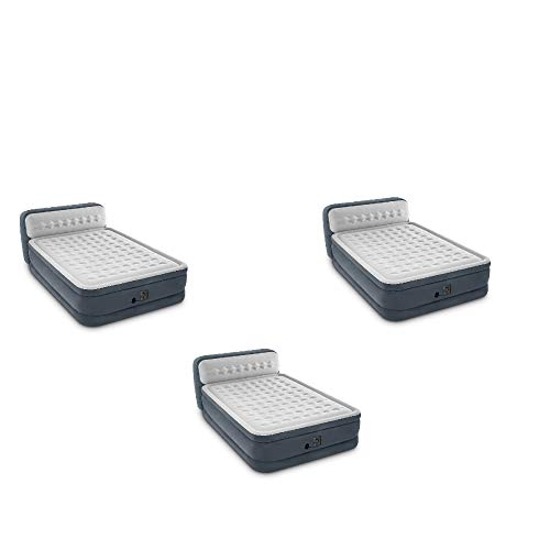 Fantastic Deal! Intex 64447EP Plush Deluxe Air Mattress w/ Pump & Headboard, Queen (3 Pack)