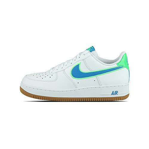 Nike Air Force 1 '07 LV8, Zapatillas de básquetbol Hombre, White Lt Photo Blue Poison Green Gum Lt Brown, 40 EU