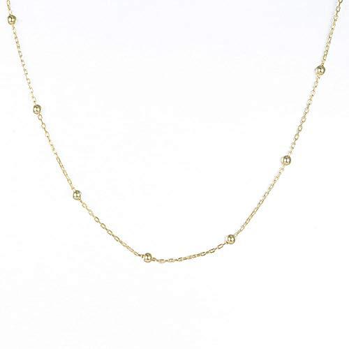 GL S925 sterling zilveren bedelketting ronde kralen ketting vrouwen - 14K gouden kleur