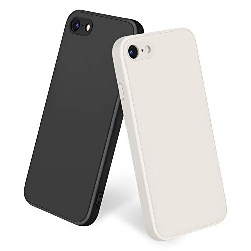 Amzpas [2 Pack] Compatible with iPhone SE 2020 Case, iPhone 8 7 Case Silicone Phone Case, Slim Shockproof Protective Cover Case with [Soft Microfiber Lining] (Black + Antique White)