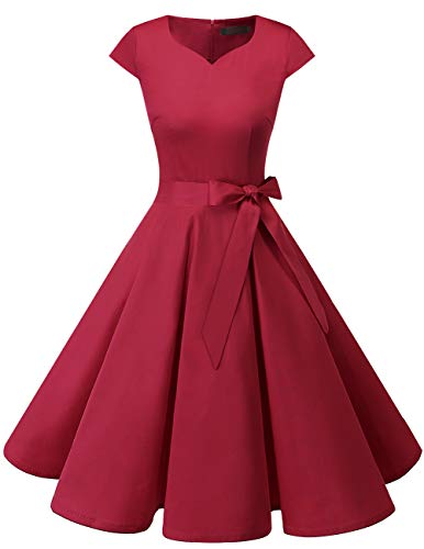 DRESSTELLS Sleeveless Retro Wiggle Dresses for Women DarkRed M