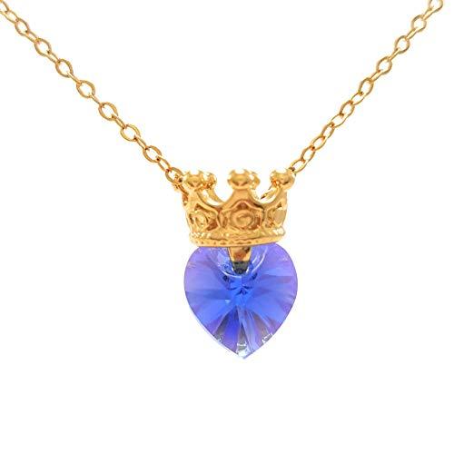 Princesa Vaiana – Collar de Princesa Corona con Corazón Swarovski Azul Majestic – Princess Crown…