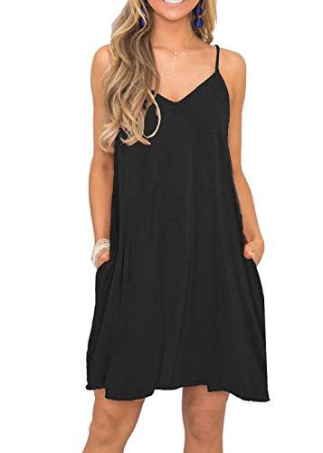 BEUFRI Women's Summer Spaghetti Strap Casual Swing Tank Beach Cover Up Dress with Pockets (L, 0 Black)