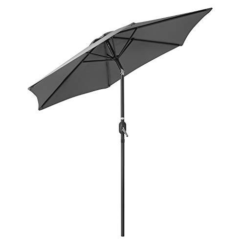 CHRISTOW Garden Parasol Umbrella 2.4m, Tilting Outdoor Sun Shade With Crank...