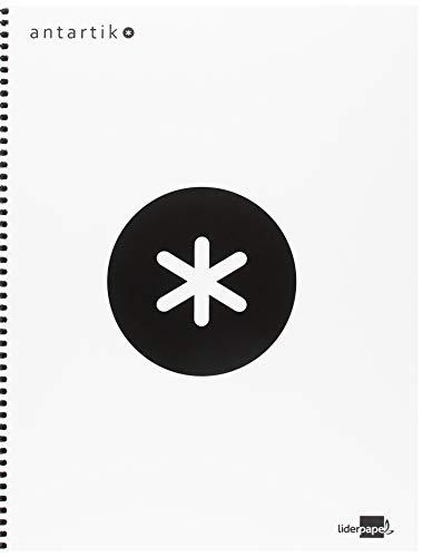 Liderpapel Cuaderno Espiral A4 Micro Antartik Tapa Forrada 120H 100 Gr Cuadro 5 Mm 5 Bandas 4 Taladros Color Blanco