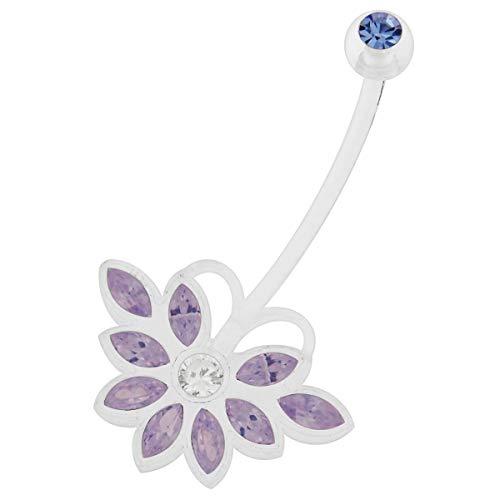Lavande CZ Pierre Papillon Design 14 Jauge Clair Bio Grossesse Flexible Ventre de Grossesse Piercing Bijoux