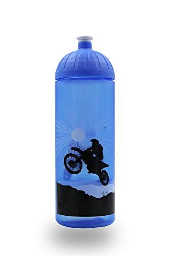 ISYbe Original Marken-Trink-Flasche für Kinder und Erwachsene, 700 ml, BPA-frei, Motorrad blau-Motiv, geeignet für Schule-Reisen-Sport & Outdoor, Auslaufsicher auch mit Kohlensäure, Spülmaschinen-fest