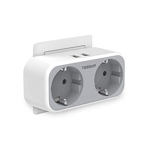 TESSAN USB Steckdosen, 4 in 1 Steckdosenadapter, 2 Steckdosen mit 2 USB Anschluss, Steckdose mit USB Ladegerät, Doppelstecker mit USB kompatibel für Phone Laptop, Grau