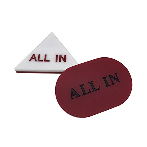 TX GIRL All IN Knopf White & Red Acryl Oval Texas Hold'em All IN Knopf Doppel-sid Casino Poker Buttons (Color : Oval)