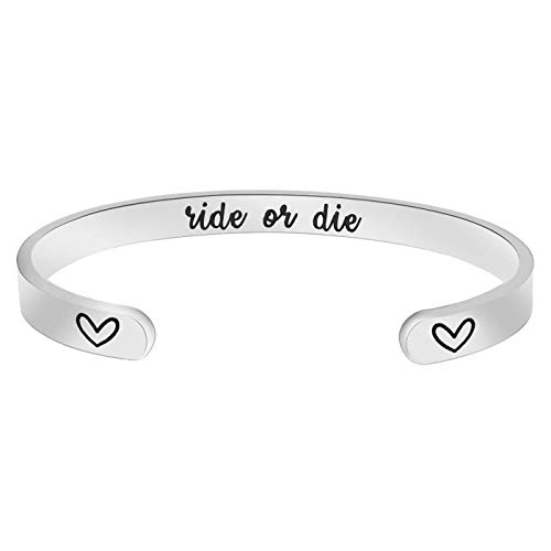Jvvsci Ride Or Die Cuff Bracelet, Personalized Inspirational Quote, Friends BFF Sisters Gift,Valentines Gift, Heart Symbols, Secret Message
