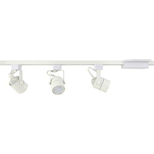 D&D Brand H System 3-Lights GU10 LED Track Lighting Kit White 3K Warm White Bulbs Included HA-4519-KIT-330K-WH