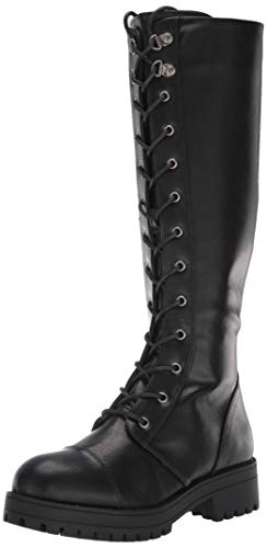 Dirty Laundry Women Vandal Combat Boot, Black Smooth, 7.5 US