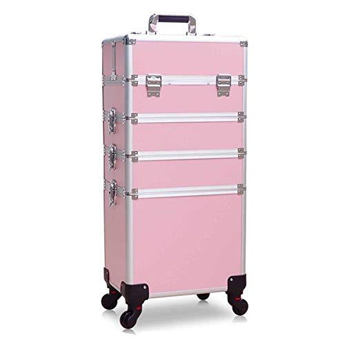 3 En 1 Maleta De Maquillaje Estuche Cosmetico Maletín Maquillaje Profesional Trolley Beauty Case,Rosado