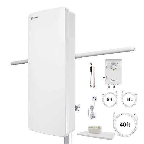 ANTOP HDTV & FM Amplified Antenna Outdoor Indoor 85 Miles AT-800SBS Antenna with Dual Outputs Smart Boost System, Support TV and Second Device-FM Stereo, a Second TV or Any OTA-Ready Streaming Device