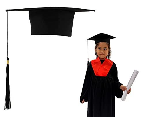Carnavalife Birrete Graduación para Niños Sombrero Estudiante de Graduado Fieltro Gorra Unisex Escuela Secundaria Master Doctorado (Negro)