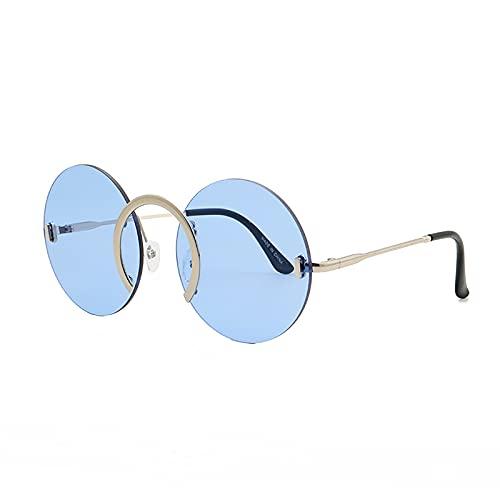 QFSLR Gafas De Sol, Gafas De Sol Redondas Sin Montura para Hombre Y Mujer, Protección 100% UV, Moda Retro,Azul