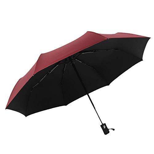 Damaibestcss Parasol Paraguas de Vinilo Totalmente automático, Protector Solar Plegable empresarial más sombrilla Triple-Vino Tinto_8 Huesos