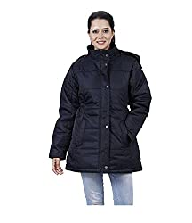 HIVER Womens Nylon Black Full-Sleeved Winter Jacket with Hood