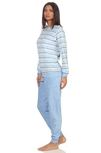 RELAX by Normann Eleganter Damen Frottee Pyjama Langarm mit Bündchen in Streifenoptik - 291 201 13 568, Farbe:hellblau, Größe2:44/46