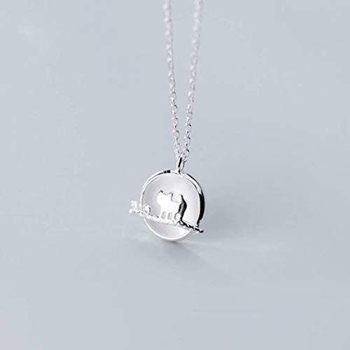 WOZUIMEI S925 Collar de Plata Femenino Estilo Coreano Estilo Literario Lindo Gato Cadena de Clavícula de Ópalo Sintéticocollar