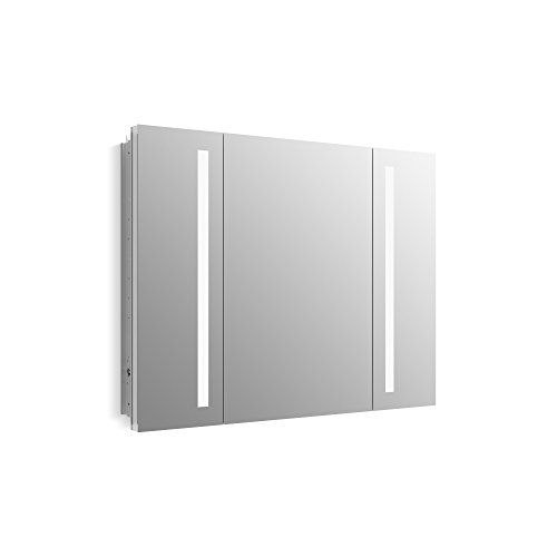 KOHLER K-99011-TL-NA Verdera 40 inch x 30 inch LED Lighted Bathroom Medicine Cabinet, Slow Close Hinge, Internal Magnifying Mirror; Aluminum; Recess or Surface Mount; 3 Doors (Surface Mount Medicine Cabinet With Mirror And Lights)