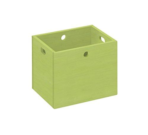 BioKinder 22181 Lara opbergbox organizer box organizer box groot massief hout grenen 30 x 38 x 30 cm groen geglazuurd