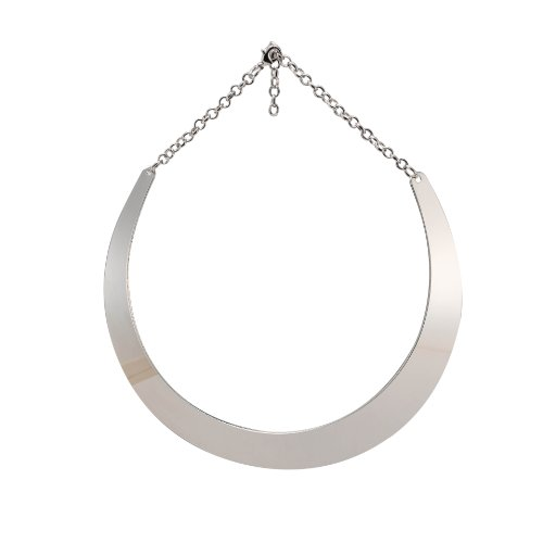 MBOX Fashion Mirror Finish Choker Necklace Collar (Silver Tone)