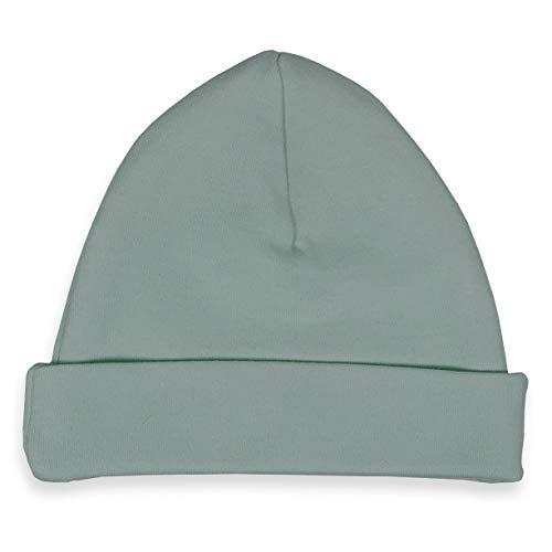 Babymuts stone groen (met naam) 50/56 - muts, hoeden met geborduurde baby namen voor pasgeborenen baby - unisex jongens meisjes Jersey - handgemaakt!