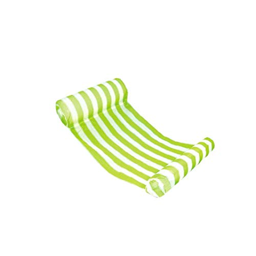Striped Water Hammock Float Portable Swimming Pool Lounge Inflatable Water Pillow Float Lounge Chair Drifter for Adults and Kids Green 1pc