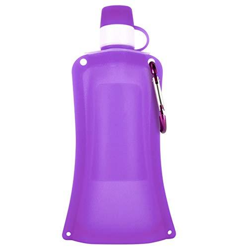 XINXI-MAO Herramientas de Camping Botella de Agua Plegable 17.1 onzas, Silicona, Deportes al Aire Libre, portátil, a Prueba de Fugas, Botella de Agua para Deportes (500 ml) (Color : Purple)