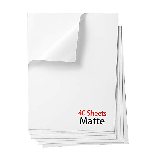 Printable Vinyl Sticker Paper,Waterproof Decal Paper for Inkjet Printer,40 Sheets,Matte White,Standard Letter Size 8.5'x11'