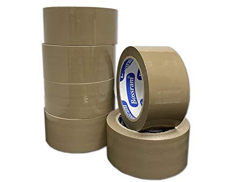 PACK 6 ROLLOS CINTA ADHESIVA PARA EMBALAR 48mm x 90M MARRON. Precinto adhesivo de embalaje extra fuerte y resistente para empaquetar y cajas